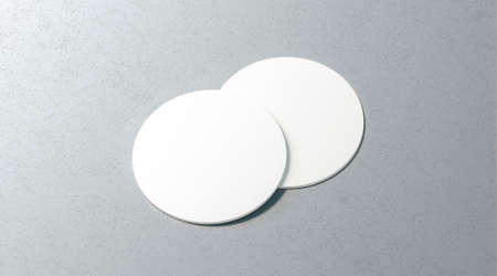 Blank white two beer coasters mockup set on surface, 3d rendering. Empty cork table-mat mock up, top view. Clear label plate for bottle protect template. Stockfoto