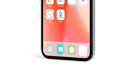 Blank white app icon on infinidock menu phone screen mockup, 3d rendering. Empty annex on telephone monitor mock up. Infiniboard with new ap design template.