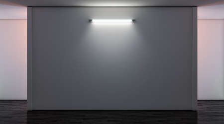 Blank white gallery wall with lamp in darkness mockup, front view, 3d rendering. Empty museum illuminated canvas mock up. Clear large glowing display for exibition or artwork template. Standard-Bild - 117190438