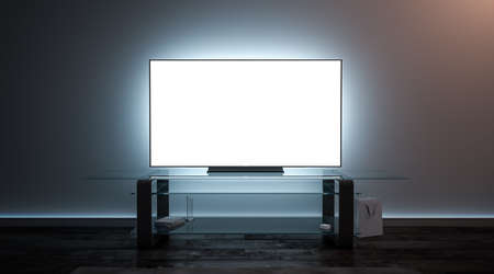 Blank white tv screen interior in darkness mockup, front view, 3d rendering. Empty telly plasma display in living room mock up. Clear smart panel monitor on glass shelf template.