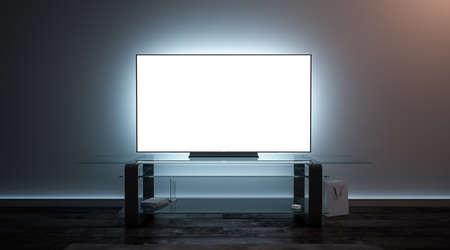 Interior de pantalla de tv blanco en blanco en maqueta de oscuridad, vista frontal, renderizado 3d. Maqueta de pantalla de plasma de televisión vacía en la sala de estar. Monitor de panel inteligente claro en plantilla de estante de vidrio. Foto de archivo