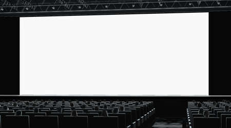 Cinema hall with audience watching on blank monitor mockup, right side view, 3d rendering. Empty cinema screen with people on seat mock up. Theatre presentation or education seminar template.