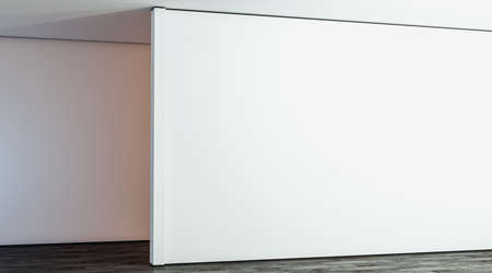 Blank white large gallery wall in hall mock up, 3d rendering. Empty big stand in room mockup, side view. Clear sunlight interior with modern exhibition wal tempate. Standard-Bild - 117190826