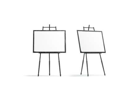 Blank white square canvas stand on tripod mockup set, 3d rendering. Empty sketching in frame mock up, front and side view. Clear promotion pedestal with banner template. Archivio Fotografico - 117190831