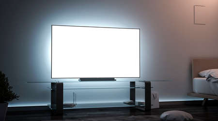 Blank white tv screen room interior in darkness mockup, 3d rendering. Empty lcd widescreen mock up, side view. Clear smart monitor in flat for watch cinema or video template. Banco de Imagens