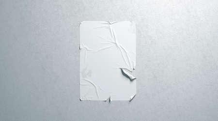 Maqueta de cartel rasgado adhesivo de pasta de trigo blanco en blanco en la pared con textura, representación 3d. Maqueta de cartel de grunge vacío. Pancarta clara interrumpida colgada en la plantilla de pared.