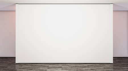 Blank white large gallery wall in studio mock up, 3d rendering. Empty modern lobby with exibition wal mockup. Clear presentation room. Wide poster on floor template. Stockfoto