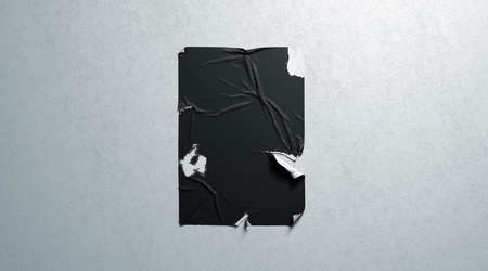 Mur texturé blanc de maquette d'affiche déchirée par adhésif de pâte de blé noir vierge, rendu 3d. Maquette d'affiche vide en lambeaux. Affiche de cinéma claire et perturbée. Ancien modèle de feuille publicitaire.