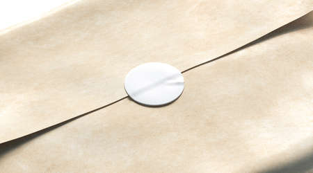 Blank white adhesive round sticker on craft wrapping paper mockup, 3d rendering. Empty delivery pack with glue stick mock up. Clear product crumpled package with badge template. Фото со стока - 118929392