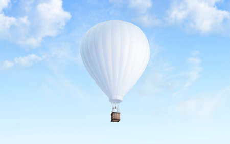 Blank white balloon with hot air mockup on sky background, 3d rendering. Empty airship fly in heaven mock up. Clear blimp with basket and gasbag for expedition template. Stockfoto - 118929441