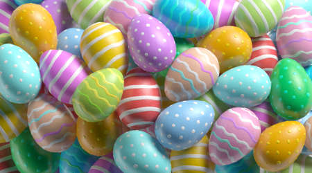 Blank painted easter egg stack mock up, depth of field, 3d rendering. Empty colorful eggshell pile mockup. Clear decoration product for passover design template.
