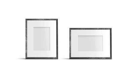 Blank white table photo frame vertical and horizontal mockup, isolated, 3d rendering. Empty past photography mock up, front view. Clear wood decor for portrait template.
