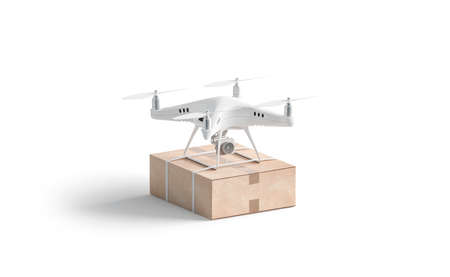 Blank white quadrocopter with box mockup, stand isolated, side view, 3d rendering. Empty drine with parcel mock up. Clear quadrotor for delivery or shooting template.