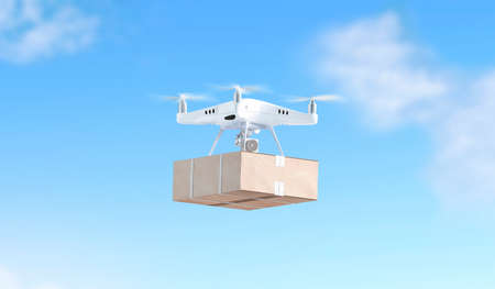 Blank white quadrocopter on sky background with box mock up, side view, 3d rendering. Empty wireless helicopter flying with parcel mockup. Clear technology outdoor toy for delivery Reklamní fotografie