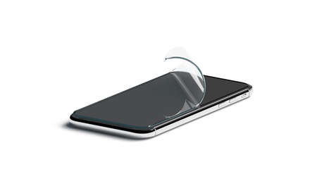 Blank curved protection film on phone screen mockup, isolated, 3d rendering. Empty bent transparent protector for smartphone display mock up, side view. Clear curl cover accessory template. Foto de archivo - 122920824