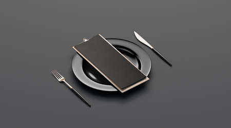 Blank black cafe menu mockup on plate with cutlery, side view, isolated, 3d rendering. Clear booklet holder on wooden with food for breakfast or dinner mock up. Empty paper brochure on board template.