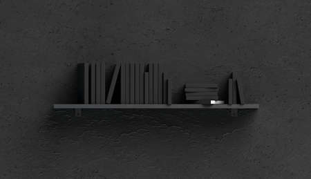Blank black stack of books mockups on shelf mounted to the wall, front view, isolated, 3d rendering. Empty dark board fixed to textured surface mock up. Clear collection literature on bookcase ledge.