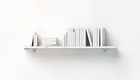 Blank white stack of books mockups on shelf mounted on wall, front view, isolated, 3d rendering. Empty bookshelf mock up fixed to textured ledge. Clear surface with heap of brochure and booklet.