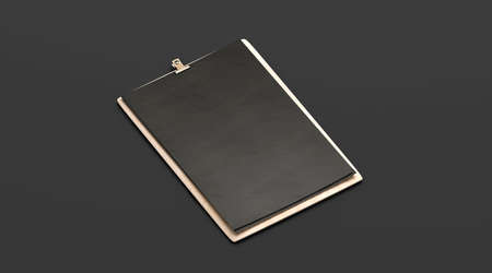 Blank black cafe menu, wooden plank mock up, A4, side view, 3d rendering. Empty notepad with holder on wood display mock up isolated. Clean checklist lunch on panel for cafe or bar template. Stock Photo