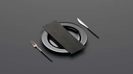 Blank black flyer mockup on plate with cutlery, side view, isolated, 3d rendering. Clear wine map flier with fork and knife mock up. Empty booklet with breakfast, lunch and dinner template.