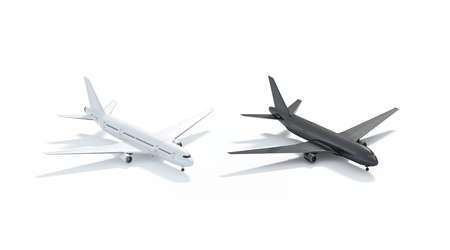 Blank black and white airplane mock up, side view isolated, 3d rendering. Clear isometric airplanes model in airport template. Empty cutout transport aerobus mockup for business branding.