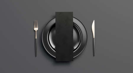 Blank dark checklist mockup on plate with cutlery, top view, isolated, 3d rendering. Clear black deluxe dishware with knife and fork mock up. Empty cutout leaflet on table ware with food template. Stock Photo