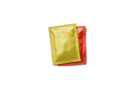 Blank red and yellow sachet packet stack mockup set, 3d rendering. Empty sealed seasoning package mock up, top view. Clear rectangular pack with catsup and spicy mustard pile template.