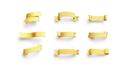 Blank gold banderole mock up set, isolated