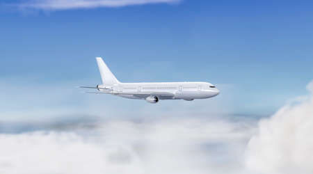Blank white flying airplane mockup on sky background, side view