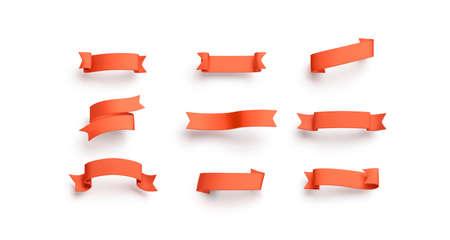 Blank red banderole mock up set, isolated Stockfoto