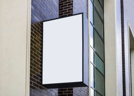 Blank white outdoor box with black frame mockup wall mounted