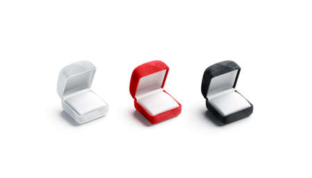 Blank black, white and red opened ring box mockup, Imagens