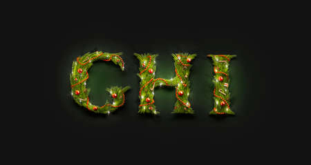 Decorative G H I letters, christmas font mock up darkness