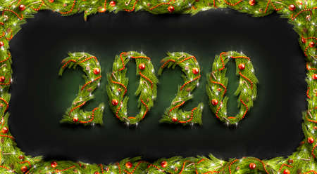 Decorative 2020 numbers, new year font mockup in darkness