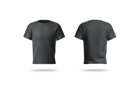 Blank black clean t-shirt mockup, isolated, front and back view,