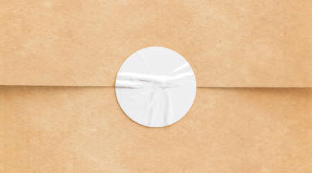 BLank white crumpled sticker on craft paper mock up