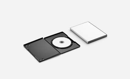 Blank white opened and closed dvd disk case mockup lying Banque d'images - 133584788