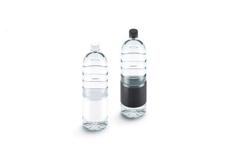 Blank transparent plastic bottle with black and white label mockup