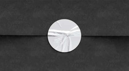 BLank white crumpled sticker on black paper mockup Banco de Imagens