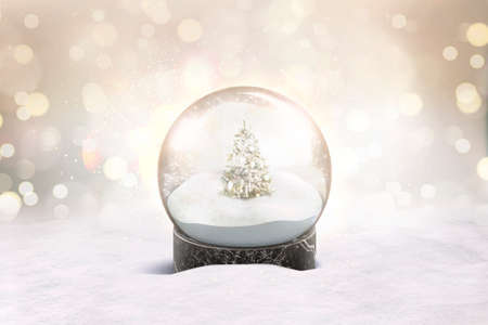Blank glass snow globe with snowfall and christmas tree mockup Foto de archivo