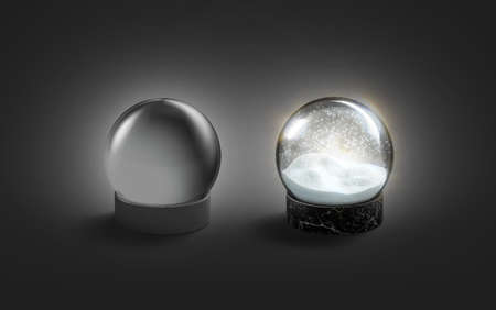 Blank black glass and glowing snow globe mockup in darkness,