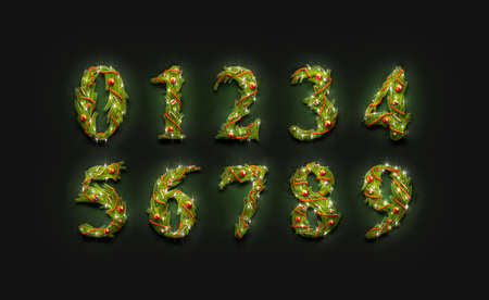 Decorative numbers, new year font mock up in darkness, 3d rendering. Decor digit symbol. Zero, one, two and three number for xmas date. Four, five, six, seven, eight and nine christmas fount. Stok Fotoğraf
