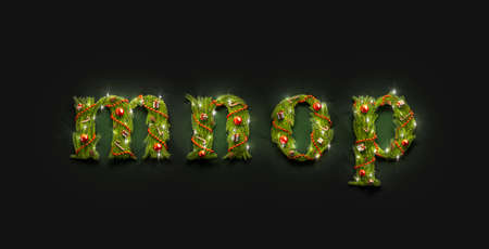 Decorative m n o p lowercase christmas font letters in darkness, 3d rendering. Illuminate small charset with festoon mock up. Green cristmas word for congratulation mokcup template. Imagens