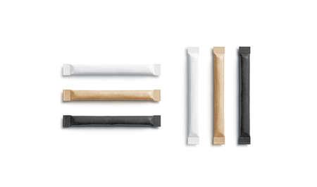 Blank black, white and craft sugar packet mockup, horizontal vertical