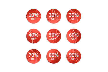Blank red round sticker with discount mockup, isolated