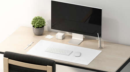 Blank white desk mat for mouse and keyboard mockup