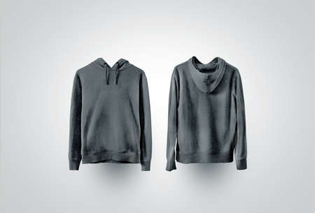 Blank black sweatshirt mockup, front and back view Stockfoto