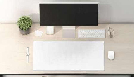 Blank white desk mat mouse and keyboard mockup, top view Archivio Fotografico - 140010658