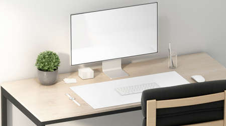Blank white display and desk mat for mouse and keyboard mockup, 3d rendering. Empty work-table with computer screen and carpet for keypad mock up, side view. Clear accessory for internet user template