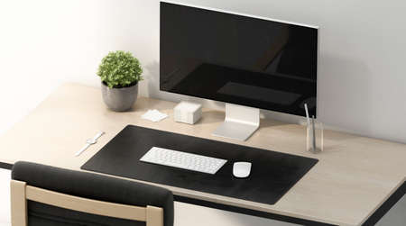Blank black desk mat with white mouse and keyboard mockup Archivio Fotografico - 140020455